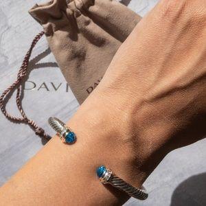 David Yurman Hampton Blue Topaz Diamond Cable Cuff